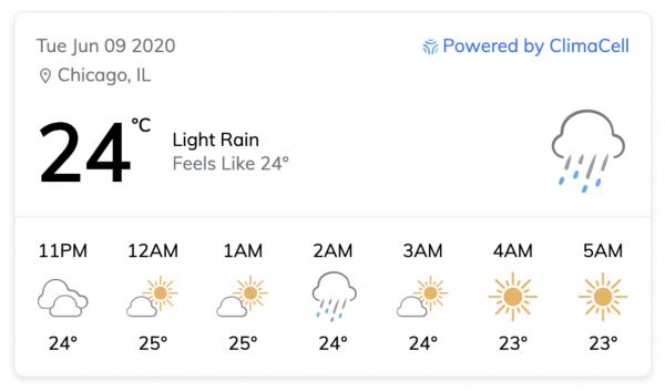 weather api Tomorrow.io weather widget