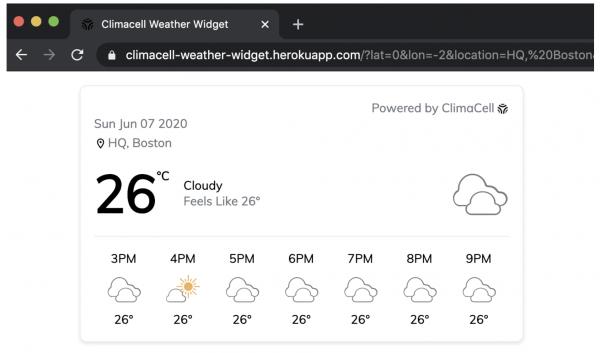 weather widget Tomorrow.io