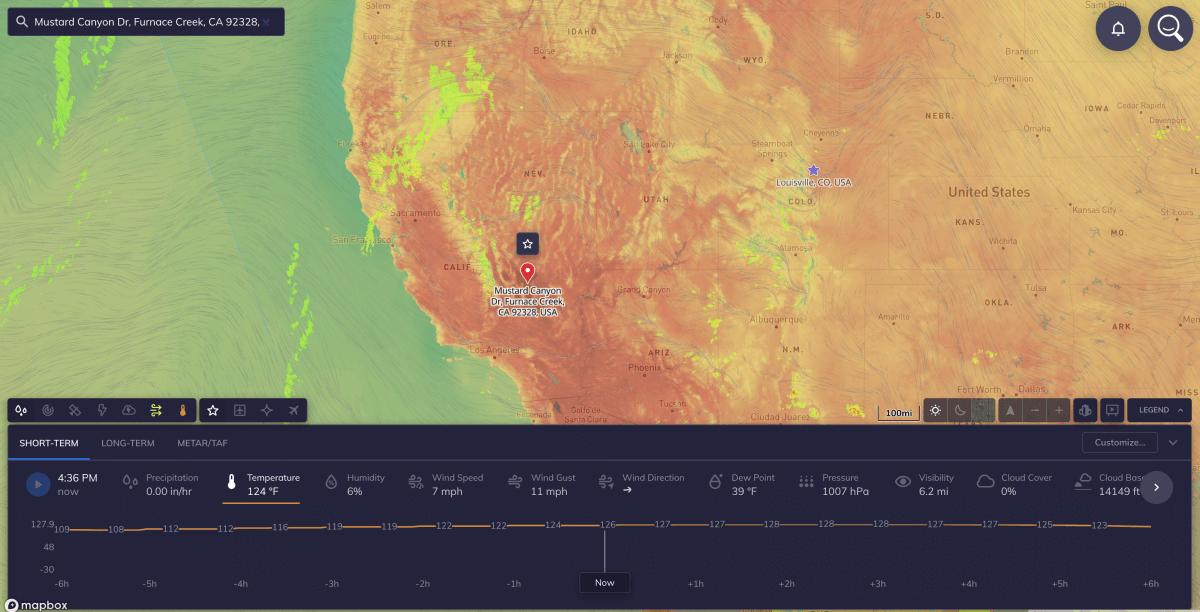 heat record death valley ca
