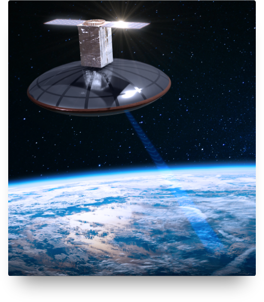 satellite beaming to earth