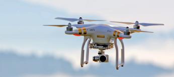 Drone hovering mid-flight