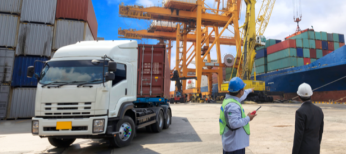 Truck being loaded at shipping port